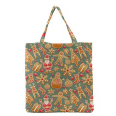 Santa and Friends Pattern Grocery Tote Bags