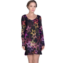 Sparkly Stars Pattern Long Sleeve Nightdresses