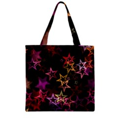 Sparkly Stars Pattern Zipper Grocery Tote Bags