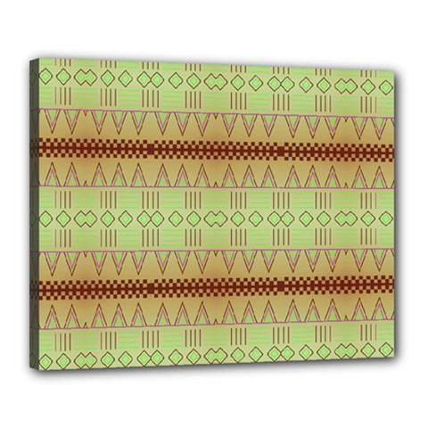 Aztec pattern Canvas 20  x 16  (Stretched)