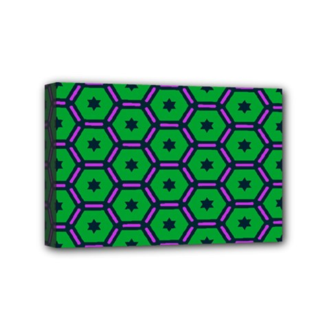 Stars in hexagons pattern Mini Canvas 6  x 4  (Stretched)