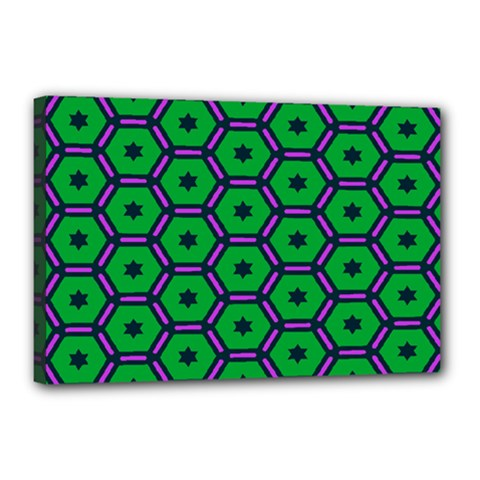 Stars in hexagons pattern Canvas 18  x 12  (Stretched)