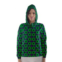 Stars In Hexagons Pattern Hooded Wind Breaker (women)