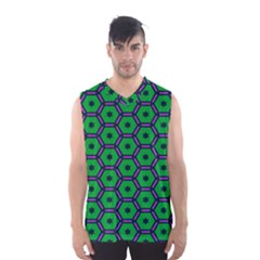 Stars in hexagons pattern Men s Basketball Tank Top