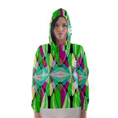 Distorted flower Hooded Wind Breaker (Women)