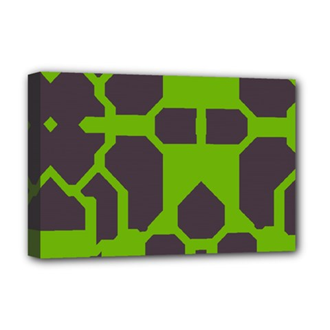 Brown green shapes Deluxe Canvas 18  x 12  (Stretched)