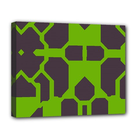 Brown green shapes Deluxe Canvas 20  x 16  (Stretched)