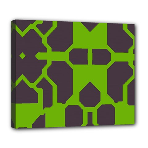 Brown green shapes Deluxe Canvas 24  x 20  (Stretched)