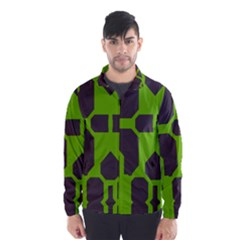 Brown green shapes Wind Breaker (Men)