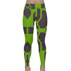Brown Green Shapes Yoga Leggings