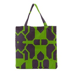 Brown green shapes Grocery Tote Bag