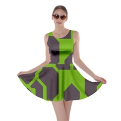 Brown green shapes Skater Dress