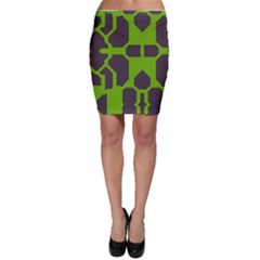 Brown Green Shapes Bodycon Skirt