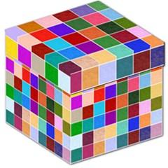 Multi Colour Squares Pattern Storage Stool 12