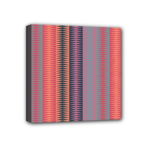Triangles and stripes pattern Mini Canvas 4  x 4  (Stretched)
