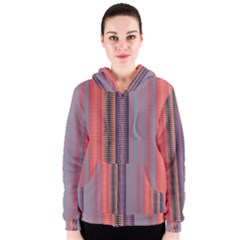 Triangles and stripes pattern Women s Zipper Hoodie