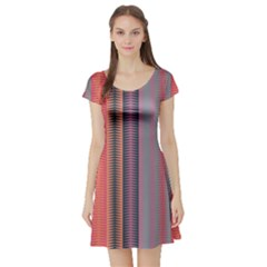 Triangles and stripes pattern Short Sleeve Skater Dress