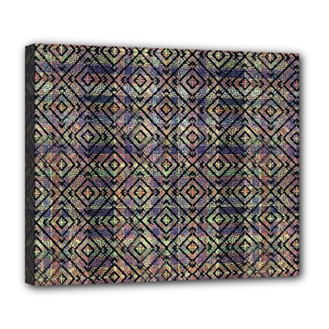 Multicolored Ethnic Check Seamless Pattern Deluxe Canvas 24  x 20