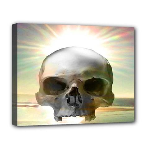 Skull Sunset Deluxe Canvas 20  x 16