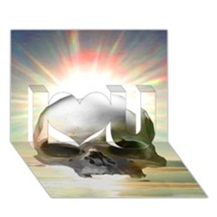 Skull Sunset I Love You 3D Greeting Card (7x5)