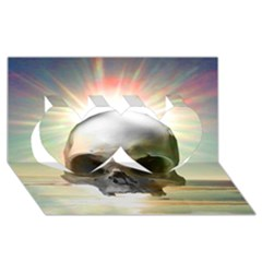 Skull Sunset Twin Hearts 3d Greeting Card (8x4)