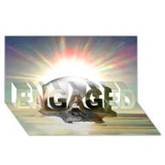 Skull Sunset ENGAGED 3D Greeting Card (8x4)