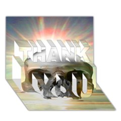 Skull Sunset THANK YOU 3D Greeting Card (7x5)