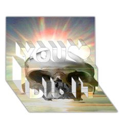Skull Sunset You Did It 3D Greeting Card (7x5)