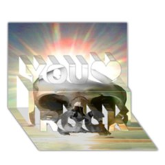 Skull Sunset You Rock 3d Greeting Card (7x5)
