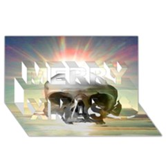 Skull Sunset Merry Xmas 3D Greeting Card (8x4)