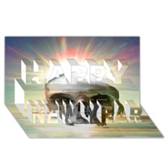 Skull Sunset Happy New Year 3d Greeting Card (8x4)