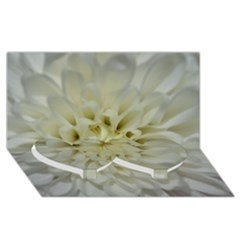 White Flowers Twin Heart Bottom 3D Greeting Card (8x4)