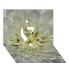 White Flowers Ribbon 3D Greeting Card (7x5)