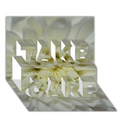 White Flowers Take Care 3d Greeting Card (7x5)