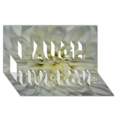 White Flowers Laugh Live Love 3D Greeting Card (8x4)