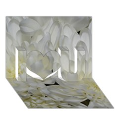 White Flowers 2 I Love You 3D Greeting Card (7x5)