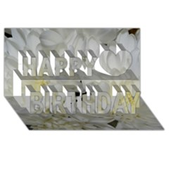 White Flowers 2 Happy Birthday 3D Greeting Card (8x4)