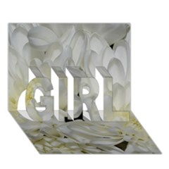 White Flowers 2 GIRL 3D Greeting Card (7x5)