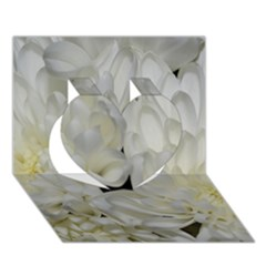 White Flowers 2 Heart 3D Greeting Card (7x5)