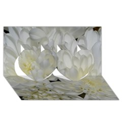 White Flowers 2 Twin Hearts 3D Greeting Card (8x4)