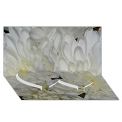 White Flowers 2 Twin Heart Bottom 3D Greeting Card (8x4)
