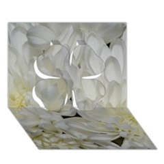 White Flowers 2 Clover 3D Greeting Card (7x5)