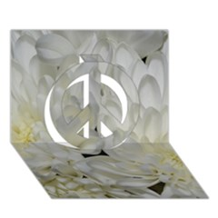 White Flowers 2 Peace Sign 3d Greeting Card (7x5)