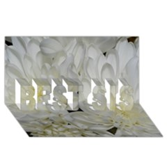 White Flowers 2 BEST SIS 3D Greeting Card (8x4)