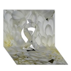 White Flowers 2 Ribbon 3d Greeting Card (7x5)