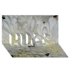 White Flowers 2 Hugs 3d Greeting Card (8x4)