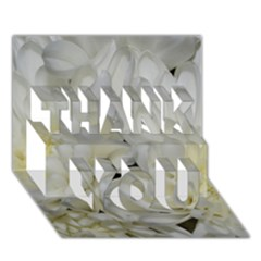 White Flowers 2 THANK YOU 3D Greeting Card (7x5)
