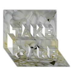 White Flowers 2 TAKE CARE 3D Greeting Card (7x5)