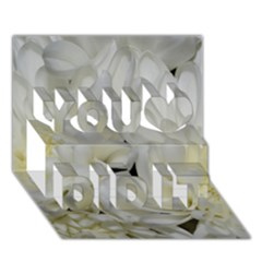 White Flowers 2 You Did It 3D Greeting Card (7x5)