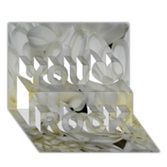 White Flowers 2 You Rock 3D Greeting Card (7x5)